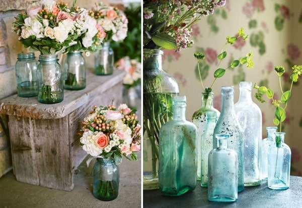 decoration recup vases avec bocaux bouteilles en verre pictures. Black Bedroom Furniture Sets. Home Design Ideas