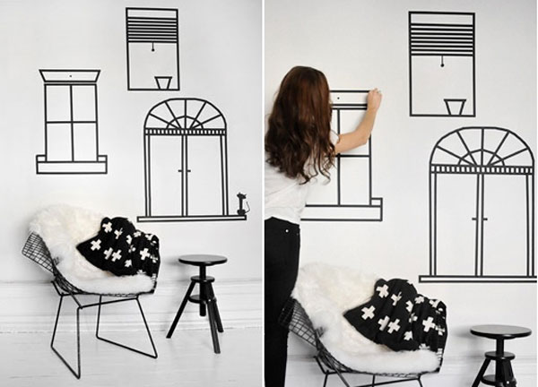 que faire avec du masking tape deco de mur j 39 ai dit oui. Black Bedroom Furniture Sets. Home Design Ideas