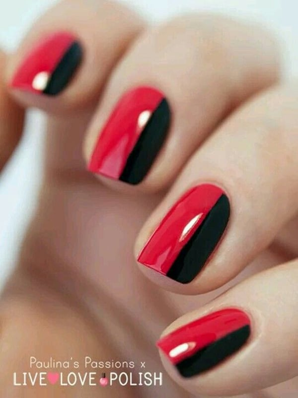 16.nail-art-rouge-rayure-verticale